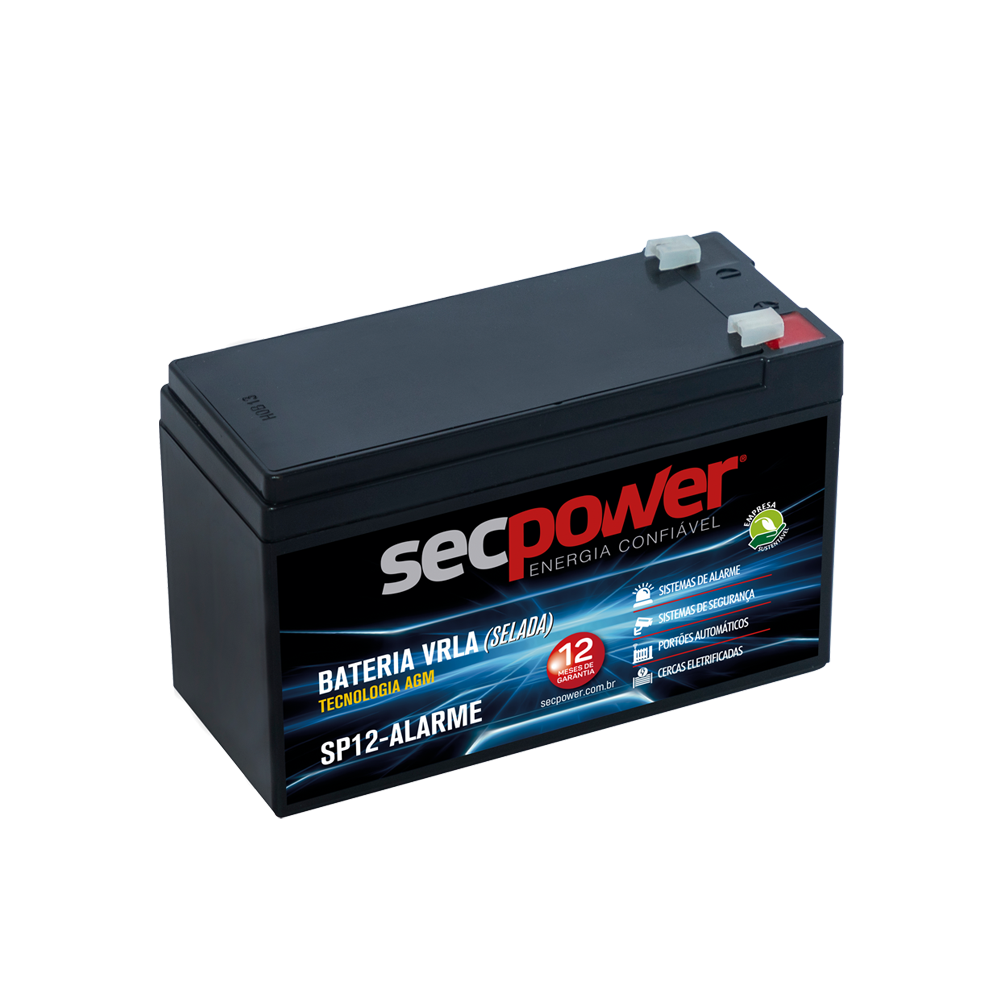 Bateria Chumbo Ácida AGM VRLA – Sec Power – SP12-Alarme
